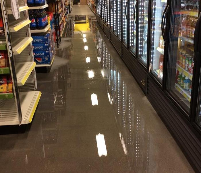 Water damage in store aisle